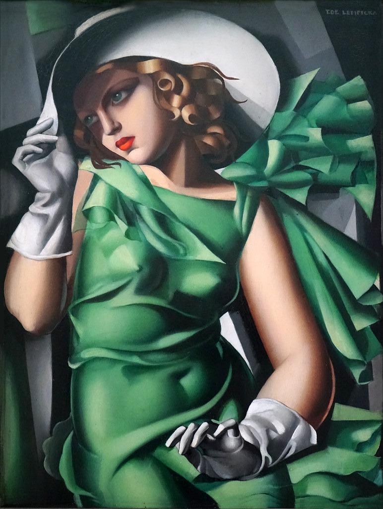 Portrait Art Déco la jeune fille en vert de Tamara Lempicka