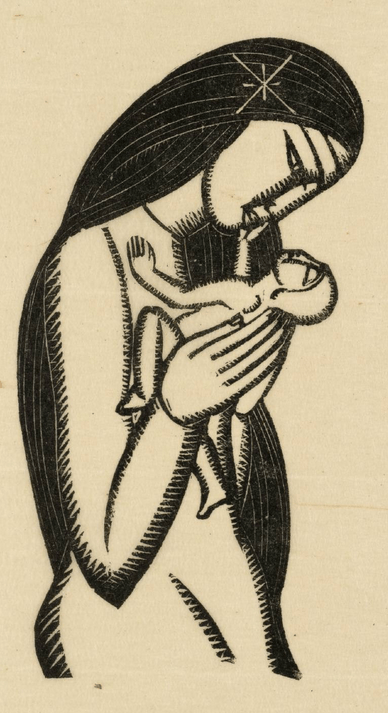 """dessin """"madonna and the child"""" par eric gill"""