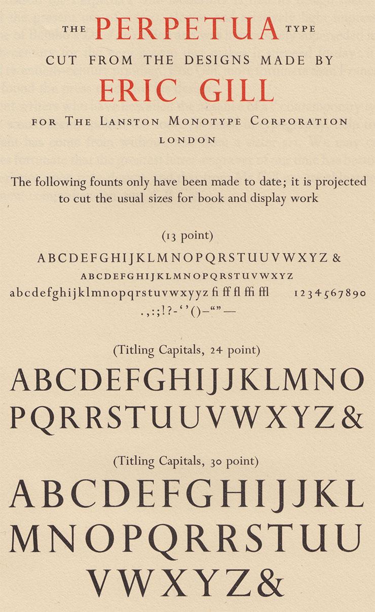 eric gill typographie lettering perpetua