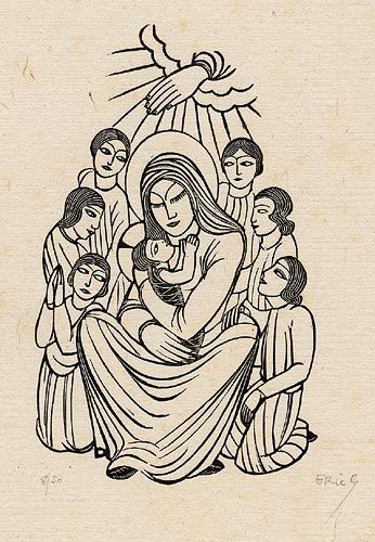 madonna and child, série par Eric Gill