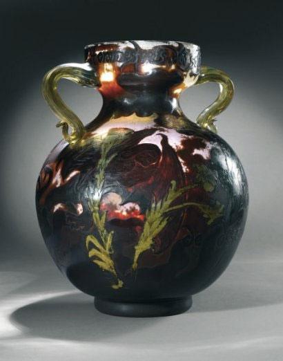 """Victor Prouvé & Emile Gallé, vase Art Nouveau """"les hommes noirs"""""""