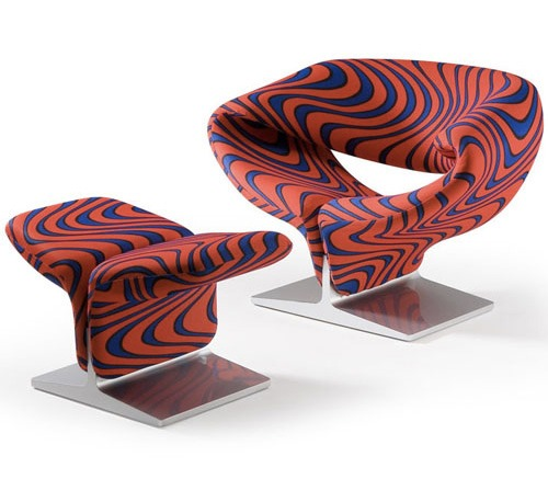 Ribbon Chair revisitée par Jack Lenor pour Pierre Paulin