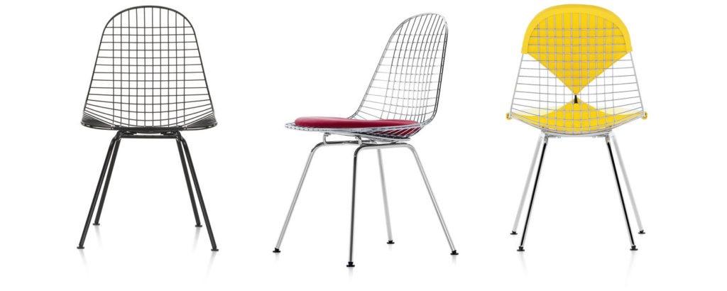 chaises wire chairs modèle DKX par Ray Eames du mouvement Streamline