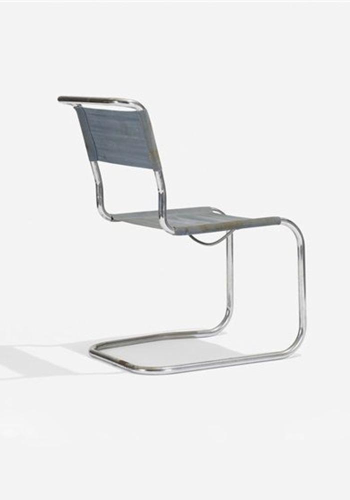 chaise b33 en tissus gris par Marcel Breuer