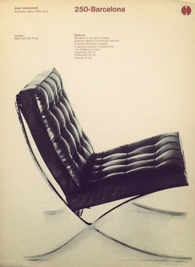 affiche ancienne de la chaise barcelona de Knoll