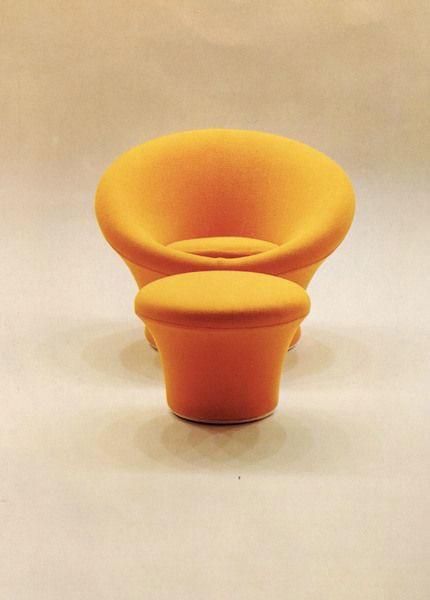 fauteuil Mushroom jaune et ottoman