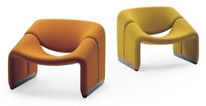 fauteuils groovy jaune et orange par le designer Pierre Paulin