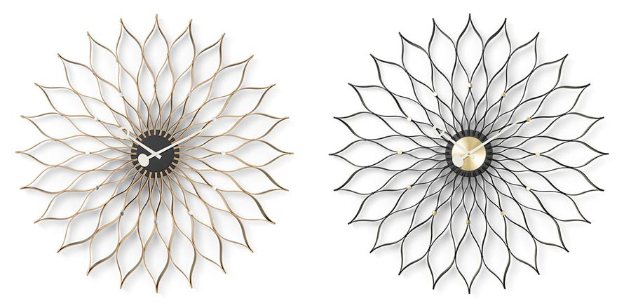 Horloge sunflower de george nelson pour vitra en 2 versions : bois de bouleau clair et bois de frêne teinté noir