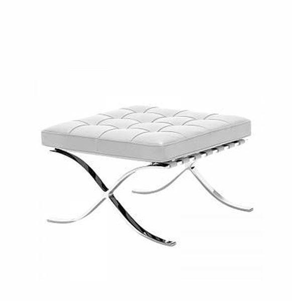 tabouret barcelona de la chaise du designer Mies van der Rohe en version cuir blanc