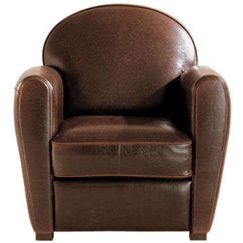 fauteuil club art déco en couleur cognac