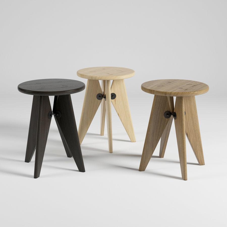 tabouret Solvay Jean Prouvé pour Vitra en 3 teintes de bois : chêne et noyer américain