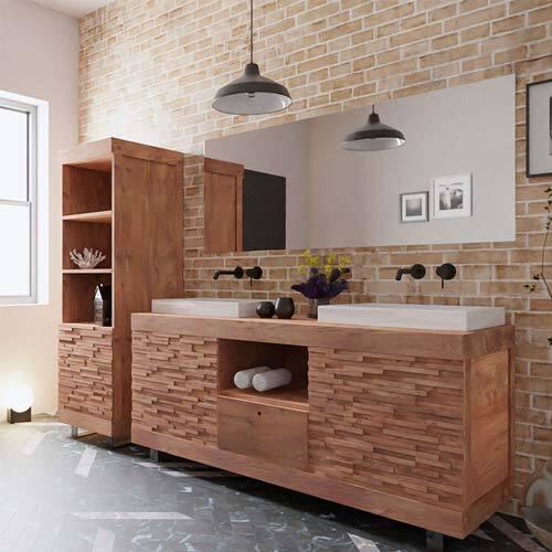 """Modèles de meubles de salle de bain en teck effet """"cubique"""""""