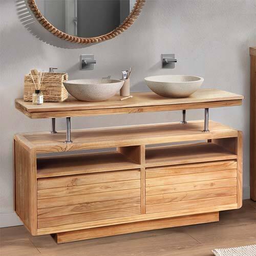 Meuble de salle de bain en teck massif style nordique