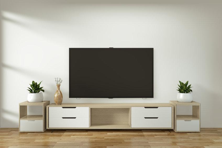 meuble tv blanc bas